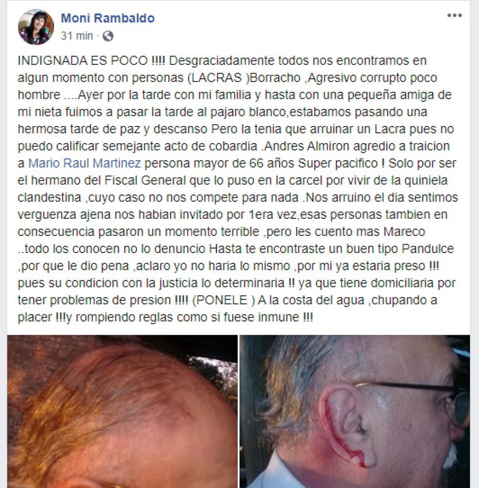 Captura de pantalla Facebook Moni Rambaldo