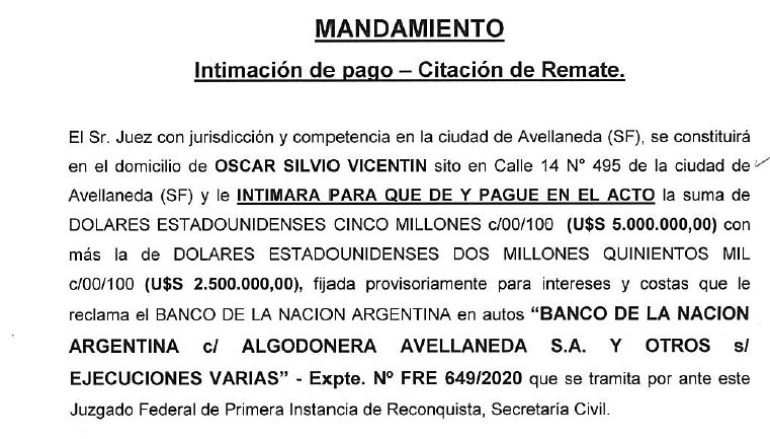 Remate Vicentin mandamiento intimacion de pago o remate OSCAR VICENTIN agosto 2020.jpg