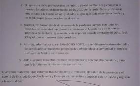Covid positivo en Reconquista: Los comunicados de este viernes del Sanatorio Norte de la ciudad de Avellaneda y de Emergencias AME.
