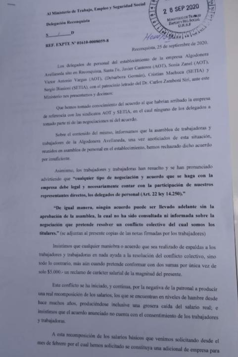 Nota Algodonera Avellaneda.
