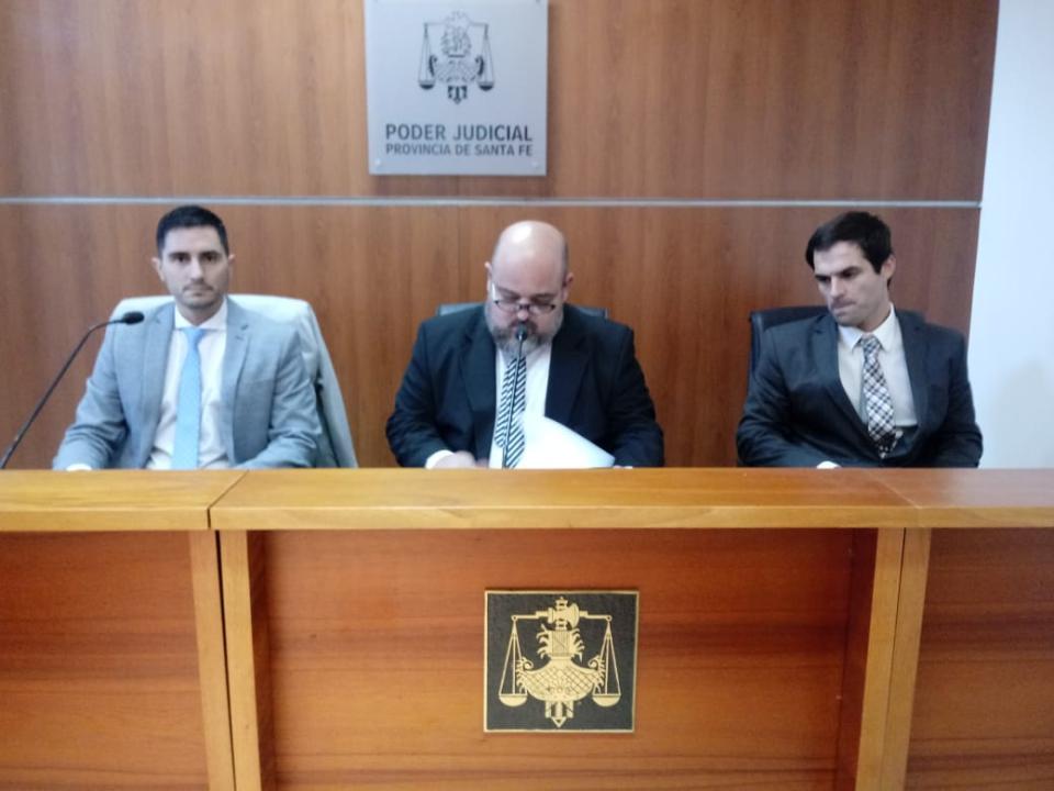 Los jueces Sebastián Banegas, Mauricio Martelossi y Martín Gauna Chapero.