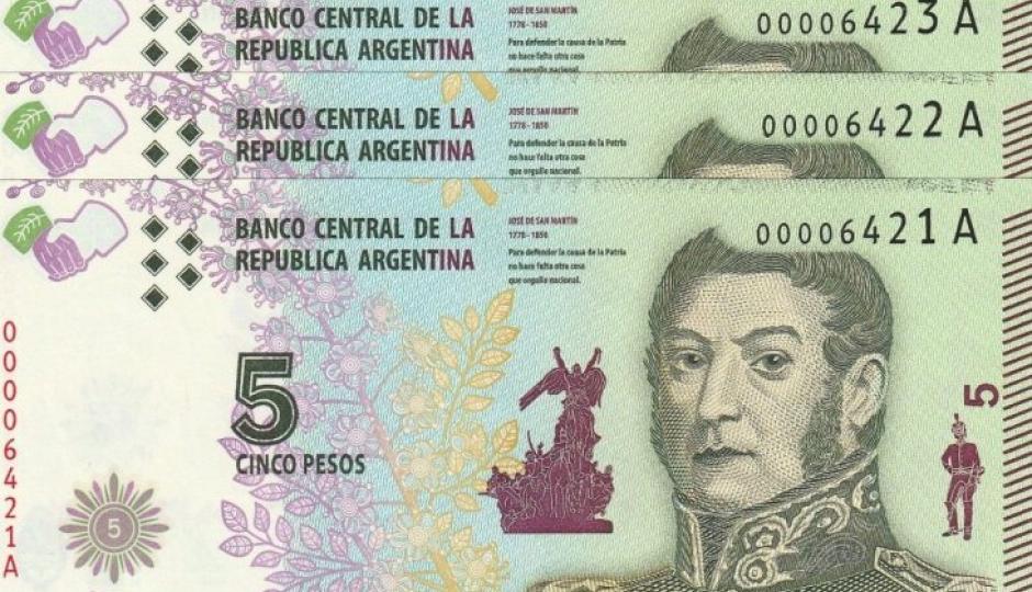 El Banco Central anunció que saldrán de circulación los billetes de 5 pesos.