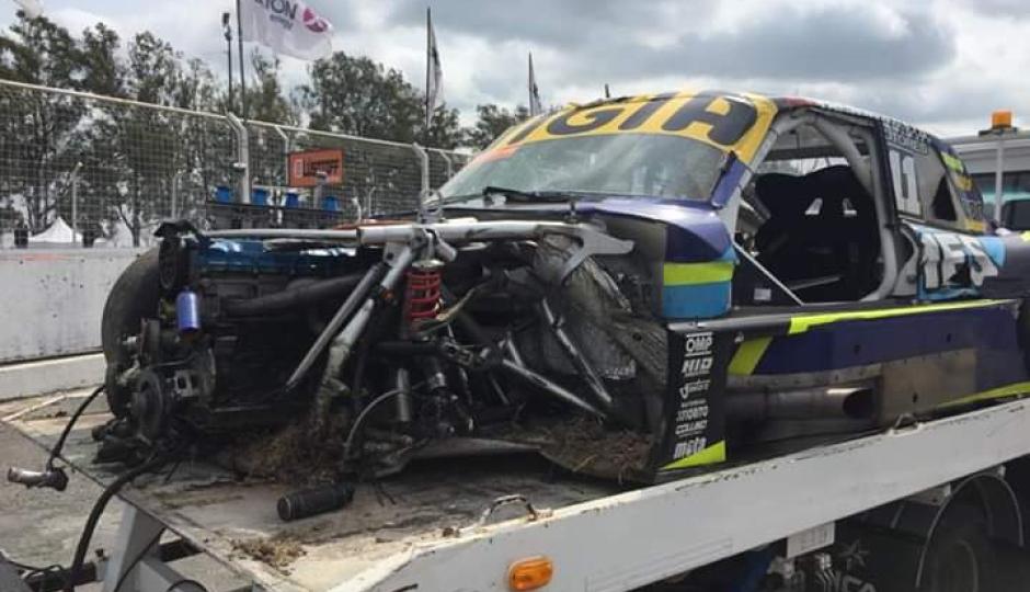 Fuerte accidente de Marcos Muchiut en el TC Pista.