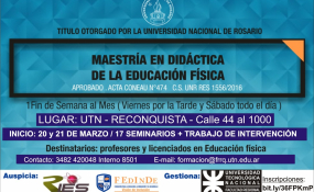 El C.E.M.E.I de la Facultad de la Universidad Nacional de Rosario invita a realizar Maestría en Didáctica de la Educación Física.
