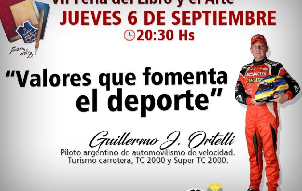 El piloto de Turismo Carretera, TC 2000 y Super TC 2000, Guillermo Ortelli, llega la VII Feria del Libro y el Arte de Malabrigo