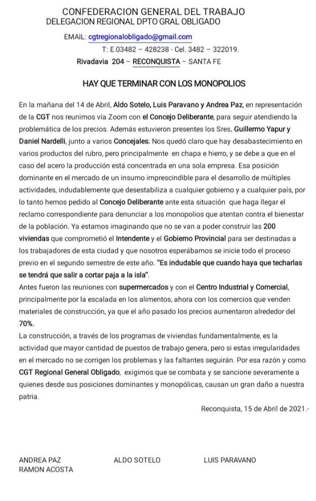 comunicado de la CGT Regional Reconquista.jpeg