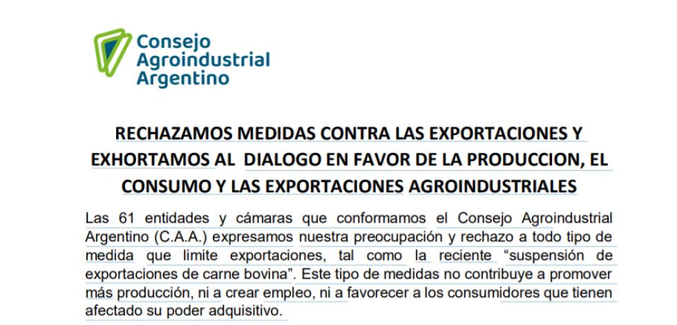 Consejo Agroindustrial Argentino rechazo cierre exportaciones