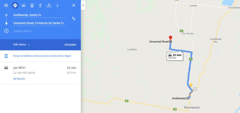 Paraje La Colmena. Cómo llegar desde la Ciudad de Avellaneda según Google.