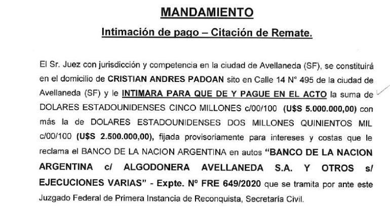 Remate Vicentin mandamiento intimacion de pago o remate CRISTIAN PADOAN agosto 2020.jpg