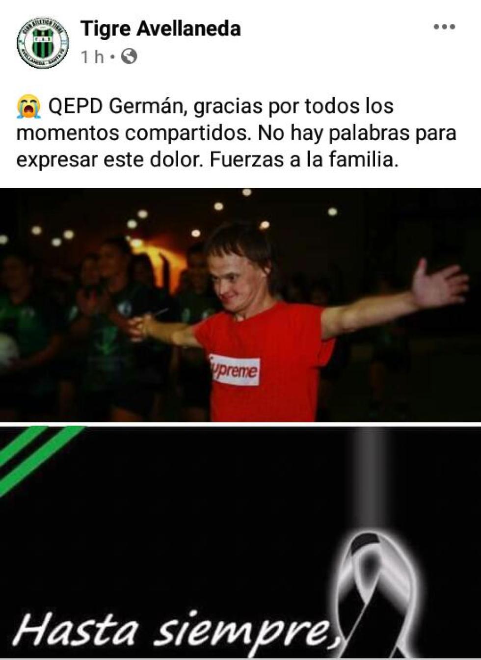Tigre duelo despide a Germán Mozimam
