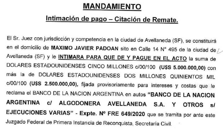 Remate Vicentin mandamiento intimacion de pago o remate MAXIMO PADOAN agosto 2020.jpg