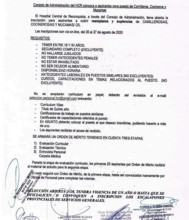Convocatoria del Hospital de Reconquista.