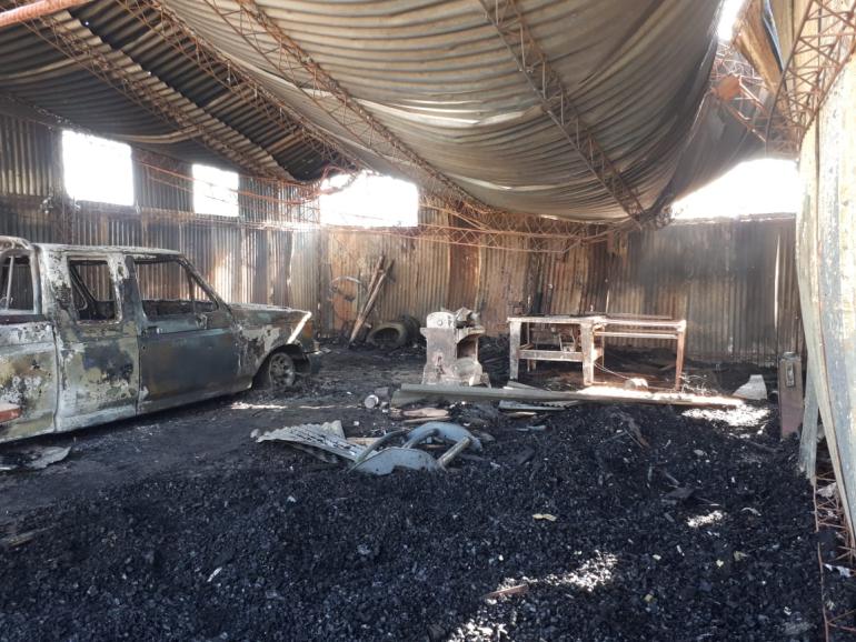 Incendio carpintería de Diego Sandrigo en Guadalupe Norte.